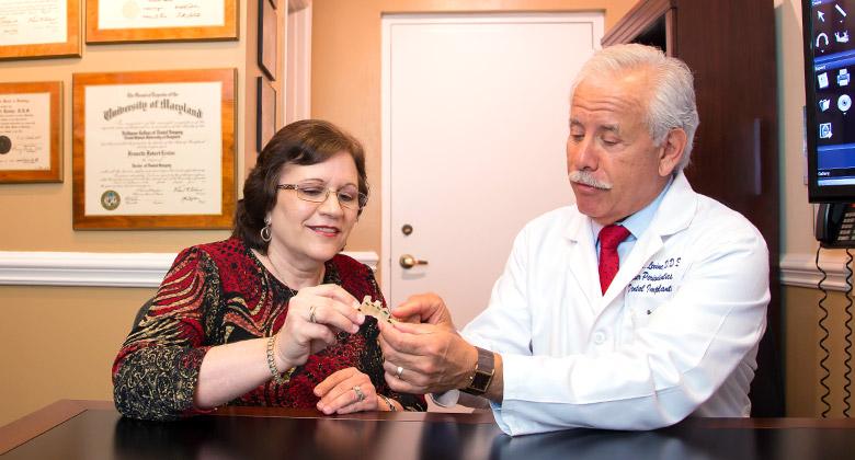 Dr. Levine showing patient